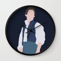 les miserables Wall Clocks featuring Marius - Eddie Redmayne - Les Miserables - Minimalist design by Hrern1313