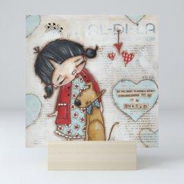 Trusted Confidant - A Girl confides in her Dog Mini Art Print