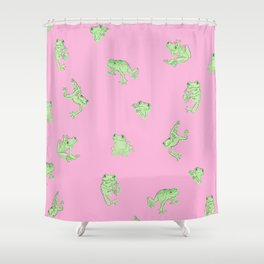 Froggy Frog pink green Shower Curtain