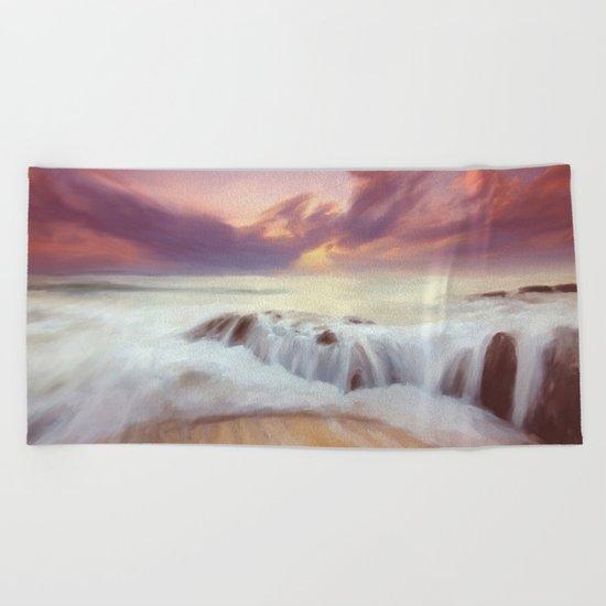 Sunset on the cliffs Beach Towel