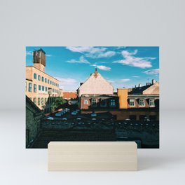 Digital Painting of the Rooftops of Central Copenhagen on a Sunny September's Day Mini Art Print