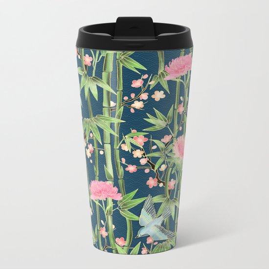 Bamboo, Birds and Blossom - dark teal Metal Travel Mug