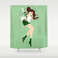sailor jupiter Shower Curtains featuring Sailor Jupiter (Green) by karla estrada