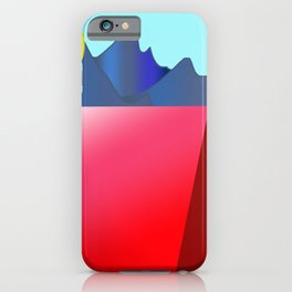 Camping Mountain Tree Sky and Sun iPhone Case