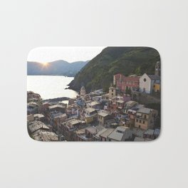 Sunset over Vernazza, Italy Bath Mat