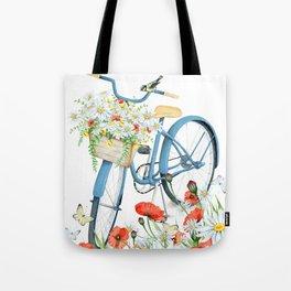 Blue bike & red poppy Tote Bag