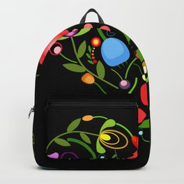Floral heart on black Backpack