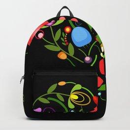Floral heart on black Backpack