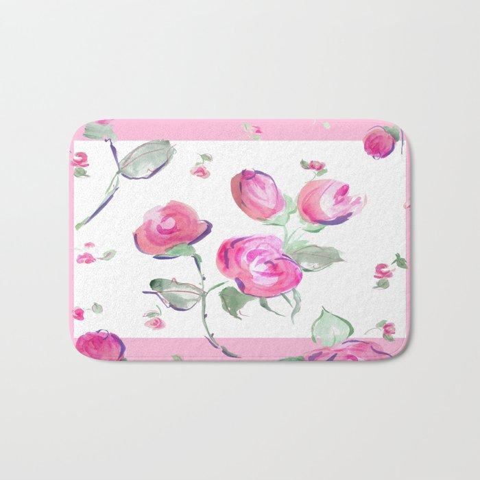 watercolor rose buds Bath Mat