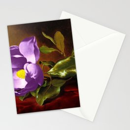 A Purple Magnolia on Red Velvet by Martin Johnson Head Stationery Cards