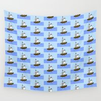 pirate ship Wall Tapestries featuring Pirate Ship by Isobel Woodcock Illustration