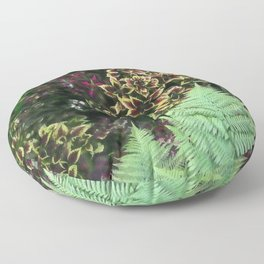Painted Nettles and Ferns Floor Pillow