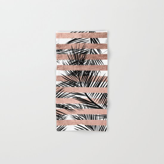 Trendy tropical palm trees chic rose gold stripes Hand & Bath Towel