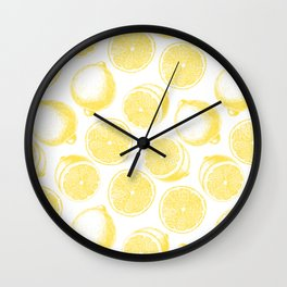 Hand drawn lemon pattern Wall Clock