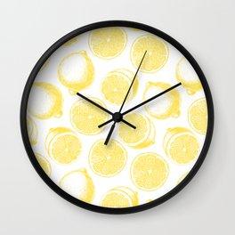 Hand drawn lemon pattern Wall Clock