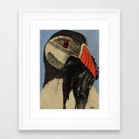 puffin Framed Art Prints featuring Puffin  by EmilyGrantDesign