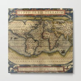 Old World Map print from 1564 Metal Print
