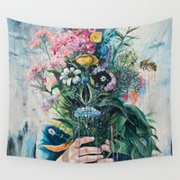 popart Wall Tapestries featuring The Last Flowers by Tanya Shatseva