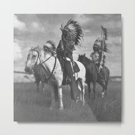 Sioux Native American First Nation Chiefs on the plains black and white photograph  Metal Print