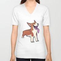 corgi V-neck T-shirts featuring Corgi by Suzanne Annaars
