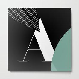 Serif - A - black Metal Print
