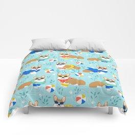 Corgi dog pool party summer beach ball design Comforters