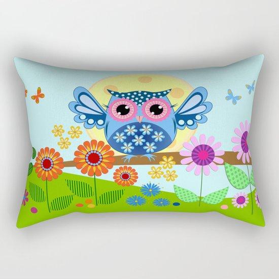 Spring owl in a Flower garden Rectangular Pillow