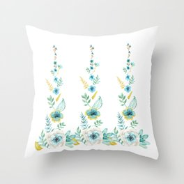 Blue Floral Twist Throw Pillow