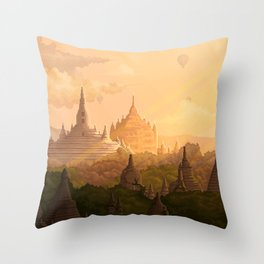 Bagan Myanmar Throw Pillow