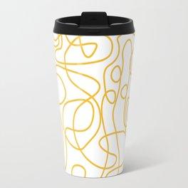Doodle Line Art | Mustard Yellow Lines on White Travel Mug