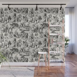 Alice in Wonderland | Toile de Jouy | Black and Beige Wall Mural
