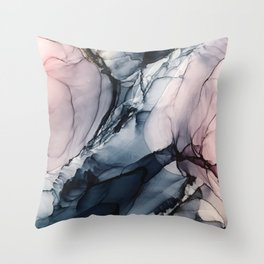 Blush, Navy and Gray Abstract Calm Clouds Throw Pillow