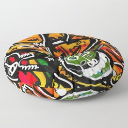 Graffiti Acrylic Painting Outsider Art Friends  Floor Pillow