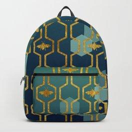 golden gometric bee pattern Backpack