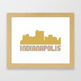 Vintage Style Indianapolis Indiana Skyline Framed Art Print