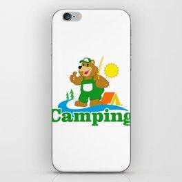 Cartoon Brown Bear camping iPhone Skin
