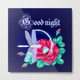 Full bloom | Dragonfly loves roses Metal Print