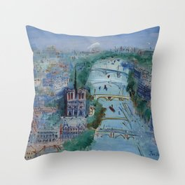 River Seine, Paris, France in Moonlight landscape painting wall decor by Jéan Dufy Throw Pillow