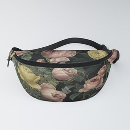 Vintage Roses and Iris Pattern - Dark Dreams Fanny Pack