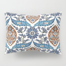 Iznik Tile Pattern Blue White Brown Pillow Sham