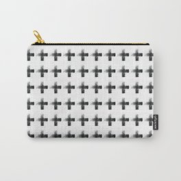 Smudgy Painted Cross 2 Minimalist Monochromatic Black and White Pattern Carry-All Pouch