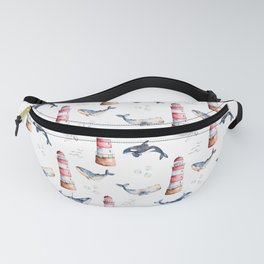 Sea Voyage Whales and Lighthouses Pattern Fanny Pack