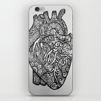 anatomical heart iPhone & iPod Skins featuring Anatomical Heart Zentangle by isabellat