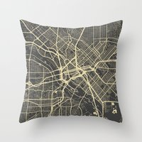 dallas Throw Pillows featuring Dallas map by Map Map Maps