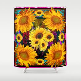 FUCHSIA PURPLE  & YELLOW  SUNFLOWERS ART Shower Curtain