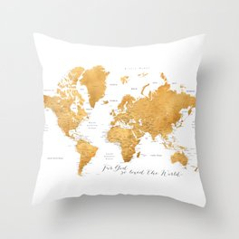 For God so loved the world, world map in gold Throw Pillow