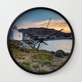 Korissia, which is a natural harbor welcomes you to the island of Kea, Greece Wall Clock