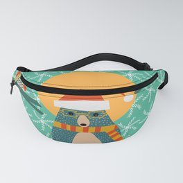 Christmas bear and two little owls Fanny Pack