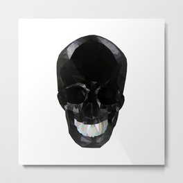 Skull Black Low Poly Metal Print