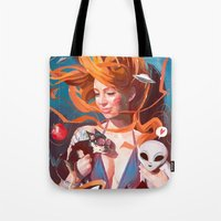 gravity Tote Bags featuring GRAVITY by Javier G. Pacheco